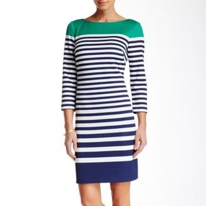 Eliza J Colorblock Striped Scuba Shift Dress